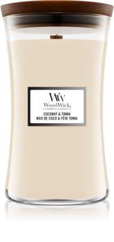 Woodwick Coconut & Tonka lumânare parfumată  cu fitil din lemn