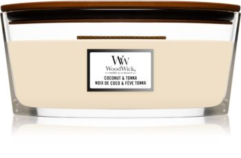 Woodwick Coconut & Tonka scented candle wooden wick (hearthwick)