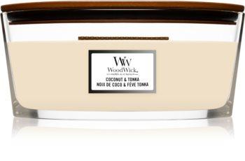 Woodwick Coconut & Tonka świeczka zapachowa  z drewnianym knotem (hearthwick)