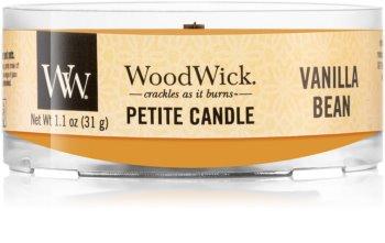 Woodwick Vanilla Bean mala mirisna svijeća bez staklene posude s drvenim fitiljem