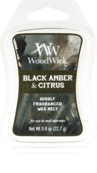 Woodwick Black Amber & Citrus tartelette en cire Artisan