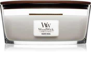 Woodwick Warm Wool duftlys trævæge (hjertevæge)