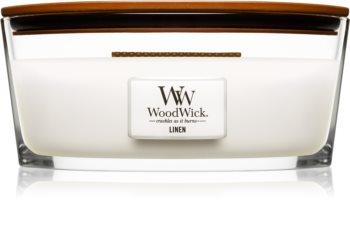 Woodwick Linen geurkaars met een houten lont (hearthwick)