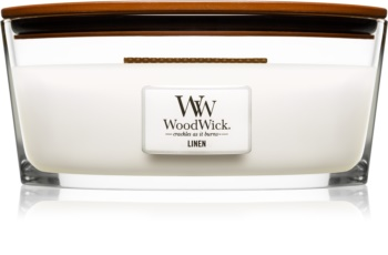 Woodwick Linen mirisna svijeća s drvenim fitiljem (hearthwick)