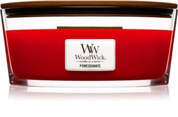 Woodwick Pomegranate dišeča sveča  z lesenim stenjem (hearthwick)