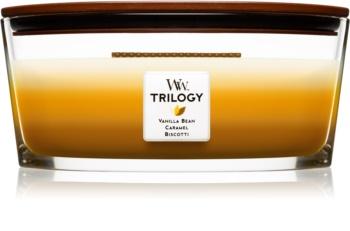 Woodwick Trilogy Café Sweets dišeča sveča  z lesenim stenjem (hearthwick)