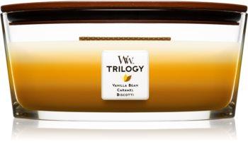 Woodwick Trilogy Café Sweets świeczka zapachowa  z drewnianym knotem (hearthwick)