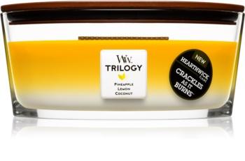 Woodwick Trilogy Fruits of Summer ароматна свещ  с дървен фитил (hearthwick)