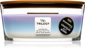 Woodwick Trilogy Calming Retreat świeczka zapachowa  z drewnianym knotem (hearthwick)
