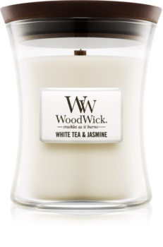 Woodwick White Tea & Jasmine scented candle Wooden Wick