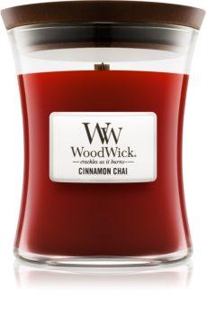 Woodwick Cinnamon Chai vonná svíčka s dřevěným knotem