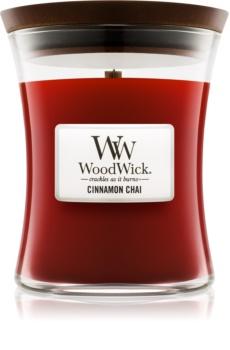 Woodwick Cinnamon Chai vonná sviečka s dreveným knotom