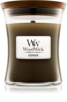 Woodwick Oudwood illatos gyertya  fa kanóccal
