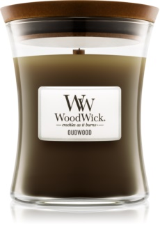 Woodwick Oudwood mirisna svijeća s drvenim fitiljem