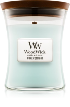 Woodwick Pure Comfort dišeča sveča  z lesenim stenjem