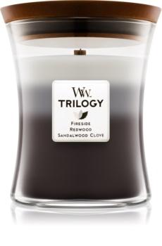 Woodwick Trilogy Warm Woods ароматическая свеча с деревянным фителем