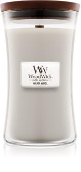 Woodwick Warm Wool geurkaars met een houten lont
