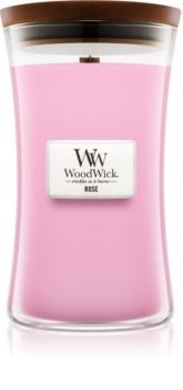 Woodwick Rose vonná sviečka s dreveným knotom