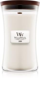 Woodwick Linen illatos gyertya  fa kanóccal