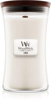 Woodwick Linen αρωματικό κερί με ξύλινο φιτίλι
