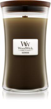 Woodwick Oudwood vonná svíčka s dřevěným knotem