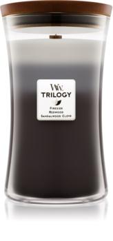 Woodwick Trilogy Warm Woods lumânare parfumată  cu fitil din lemn