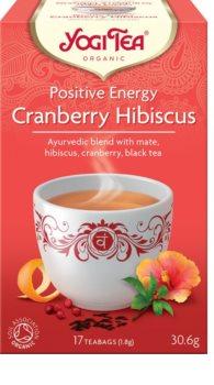 """Yogi Tea Positive Energy """"Pozitivní Energie"""" Cranberry Hibiscus černý čaj ze směsí čaje Assam, máty, brusinek ibišku a šípku pro pozitivní, energii"""