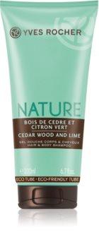 Yves Rocher Nature Cedar Wood & Lime sprchový gel na tělo a vlasy