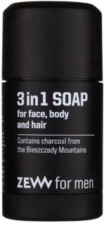 Zew For Men Naturlig tvålbit för ansikte, kropp och hår 3-i-1