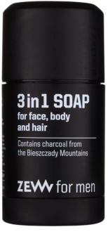 Zew For Men sabão natural em barra para o rosto, corpo e cabelo 3 em 1