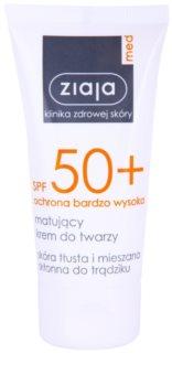 Ziaja Med Protecting UVA + UVB Protetor solar com efeito mate para o rosto. SPF 50+