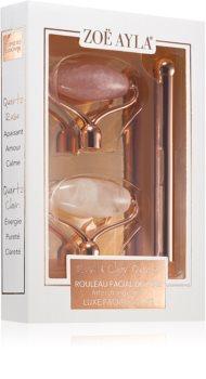 Zoë Ayla Luxurious Rose & Clear Quartz Roller masážny valček (na tvár) + náhradná hlavica