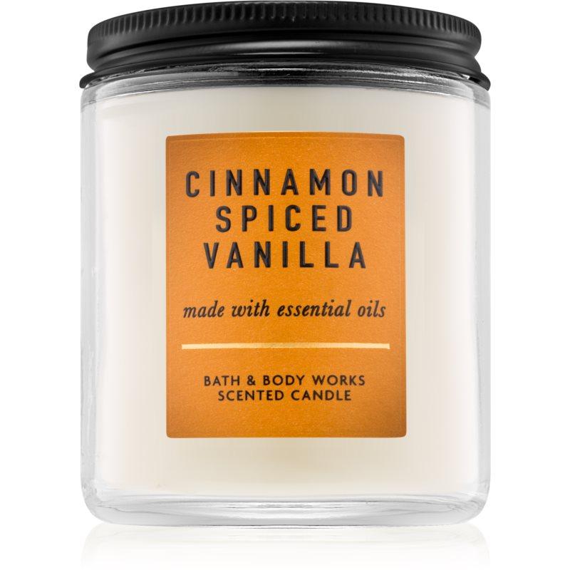 Bath & Body Works Cinnamon Spiced Vanilla vonná svíčka s esenciálními oleji 198 g
