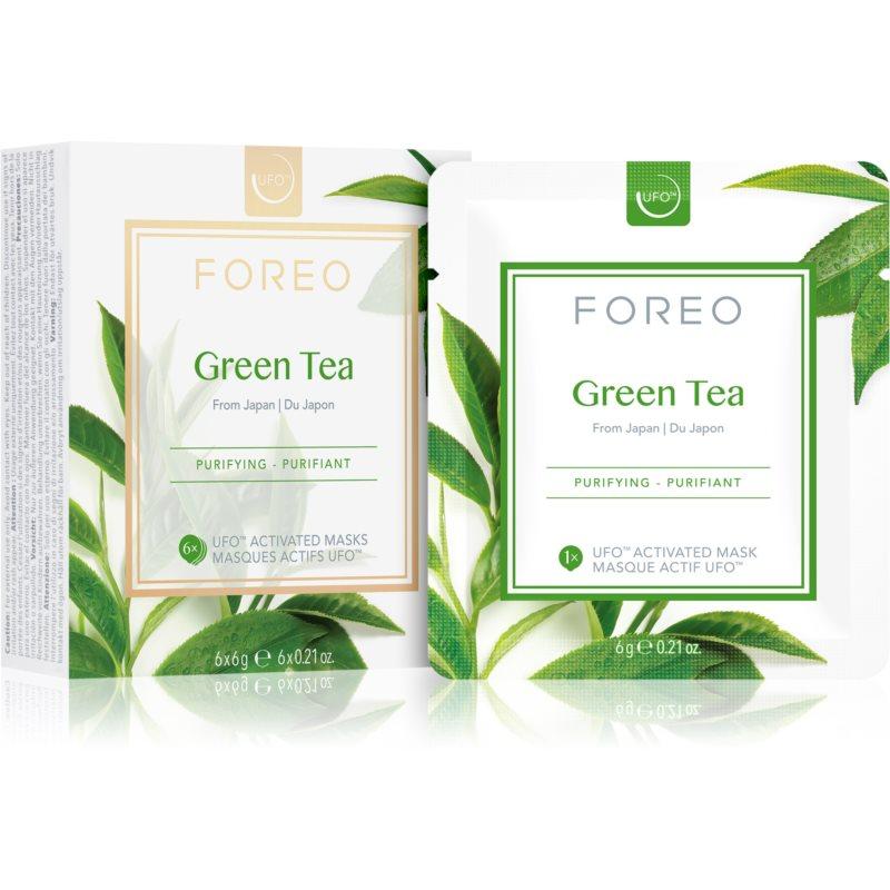 FOREO Farm to Face Green Tea osviežujúca a upokojujúca maska 6 x 6 g