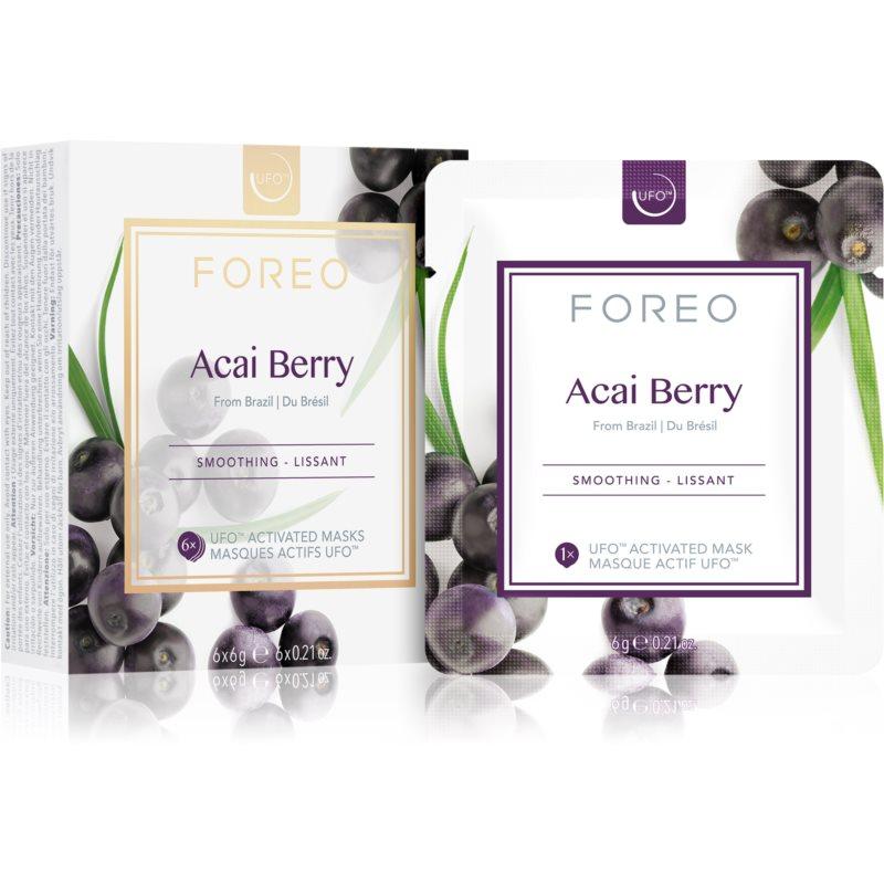 FOREO Farm to Face Acai Berry vyhladzujúca maska 6 x 6 g