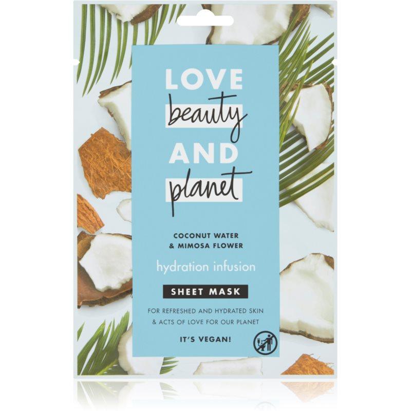 Love Beauty & Planet Hydration Infusion Coconut Water & Mimosa Flower plátýnková maska s hydratačním účinkem 21 ml