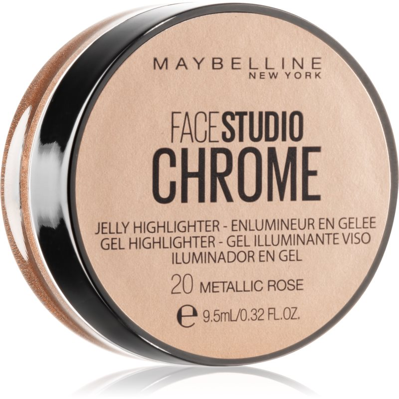 Maybelline Face Studio Chrome Jelly Highlighter enlumineur gel teinte 20 Metallic Rose 9.5 ml