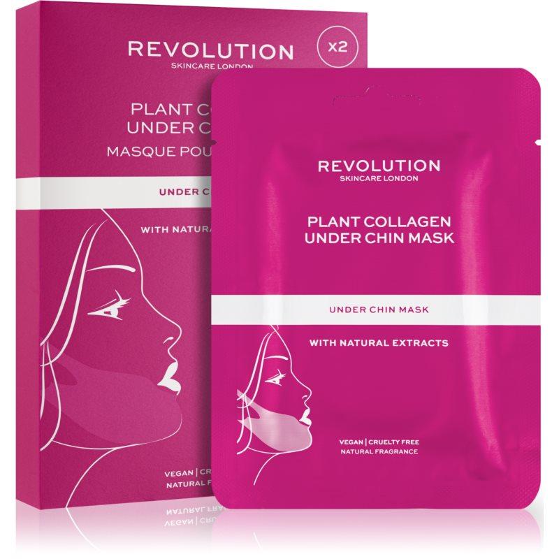 Revolution Skincare Plant Collagen Under Chin Mask zpevňující plátýnková maska na kontury obličeje 2 ks