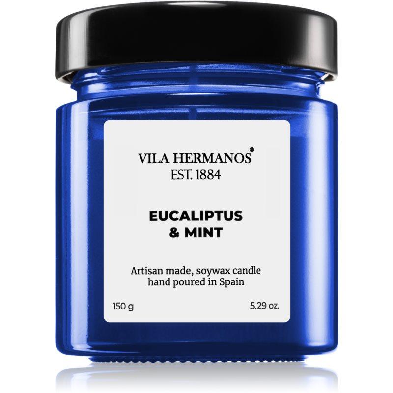 Vila Hermanos Apothecary Cobalt Blue Eucalyptus & Mint vonná svíčka 150 g