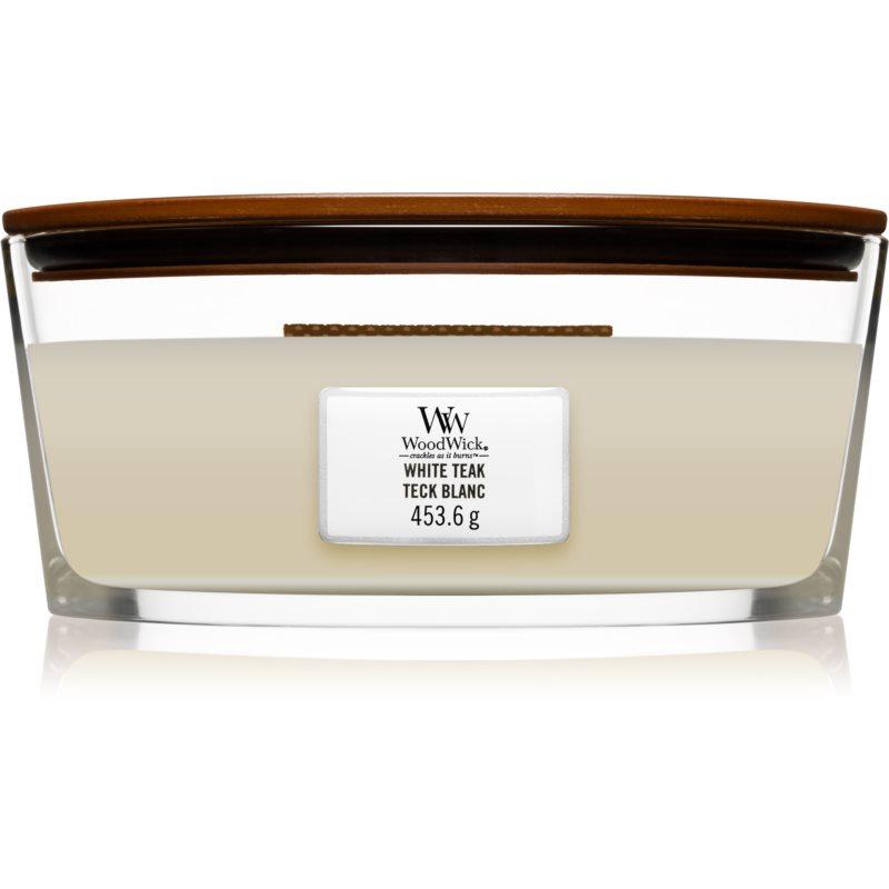 E-shop Woodwick White Teak vonná svíčka s dřevěným knotem (hearthwick) 453.6 g