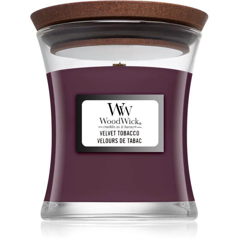 Woodwick Velvet Tobacco bougie parfumée avec mèche en bois 85 g