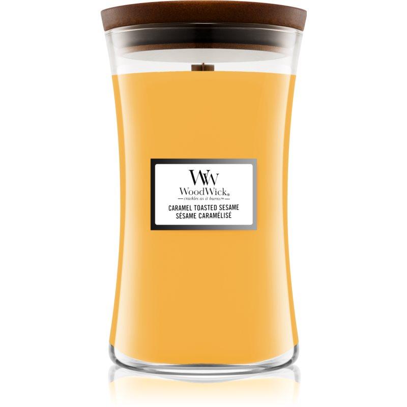 Woodwick Caramel Toasted Sesame vonná svíčka s dřevěným knotem 609,5 g