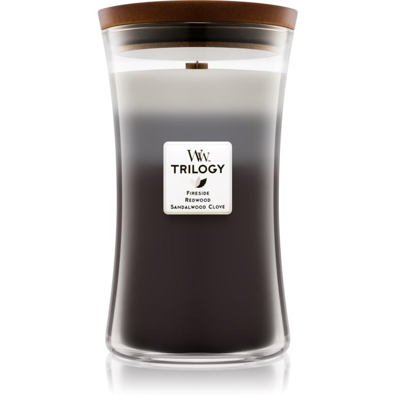 Woodwick Trilogy Warm Woods candela profumata con stoppino in legno 609,5 g