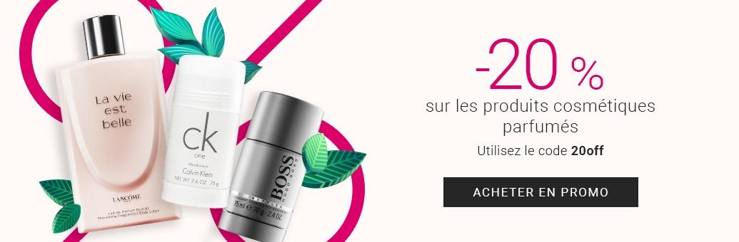 -20 % sur les produits cosmétiques parfumés