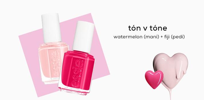 TÓN V TÓNE watermelon (mani) + fiji (pedi)