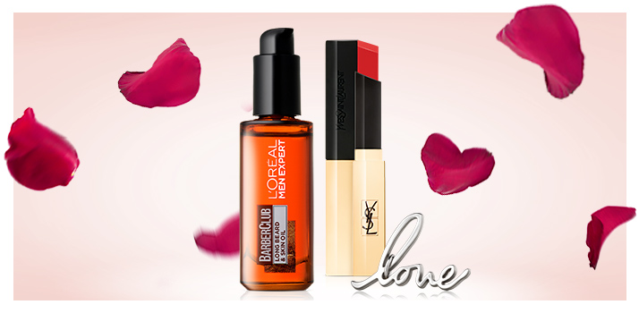 a lipstick and a beard oil