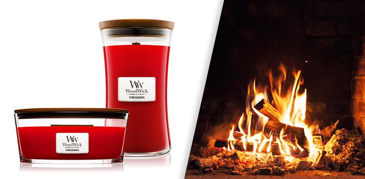 Woodwick Pomegranate sviečka pre správnu hygge atmosféru