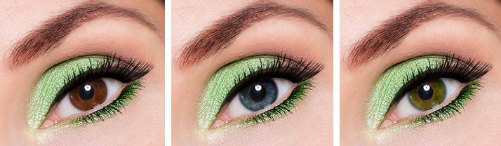 Maquillage vert différentes couleurs
