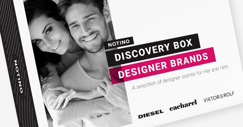 Discovery box Designer Brands съдържа мостри на мъжки и дамски парфюми: