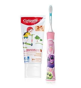 Dětský zubní kartáček a zubní pasta